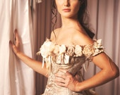 Custom Vintage Inspired Wedding Gown Prom Dress Evening Gown Ivory Beige