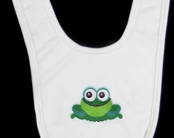 Wide-Eyed Baby Boy Frog Embroidered Baby Bib
