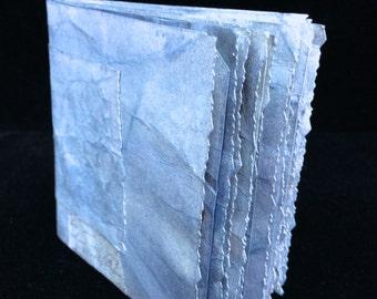 Denim Blue , Hand Bound, Hand Inked Tag Journal