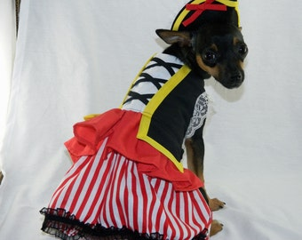 Girl pirate dog costume dress with hat XXS-M