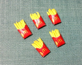 5 Miniature French Fries Potato Chips Packets Packs Polymer Clay Fast Food Snacks Carton Packet Cute Dollhouse Supplies Jewelry Beads 1/12