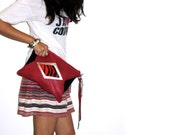 Oversized // Geometric Leather Clutch // Tribal Purse Bag // Red Black // Pony Calf Hair // Star Lined // Mother's Day - gmaloudesigns