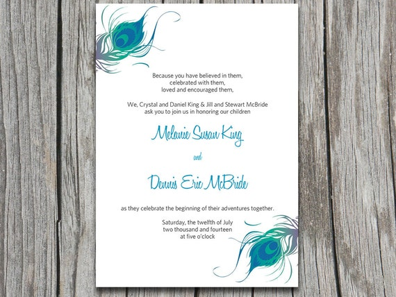 Peacock Wedding Invitations Template: Items Similar To INSTANT DOWNLOAD Peacock Wedding