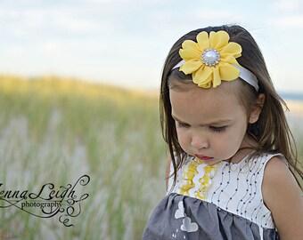 Baby Headband, Yellow Headband, Flower Girl Headband, Yellow Hair Clip, Birthday Headband, yellow baby Headband, newborn Headband