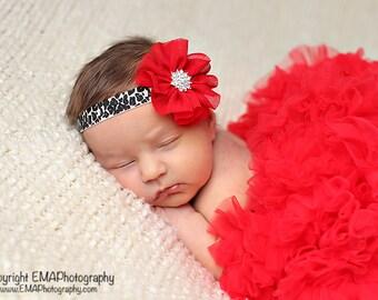 Leopard Headband, Red Headband, red flower headband, red Birthday headband, rhinestone headband, baby leopard headband, Blakely Headband