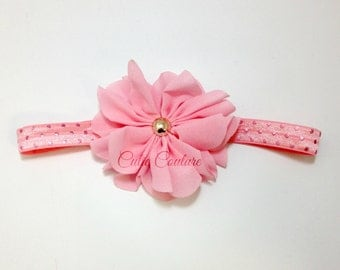 Pink Baby Headband, Pink Headband, Pink and Gold Headband, Flower Girl headband, Gold Headband,pink newborn headband,pink birthday headband