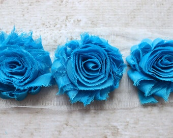 1 Yard Shabby Chiffon Flower Trim in Turquoise - Flower Trim for Headbands and DIY supplies