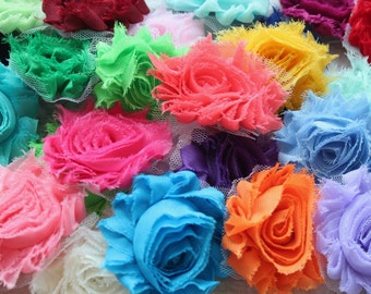 Chiffon Shabby Flowers - 20 Assorted Single Flowers - Grab Bag of Flowers - For Headbands