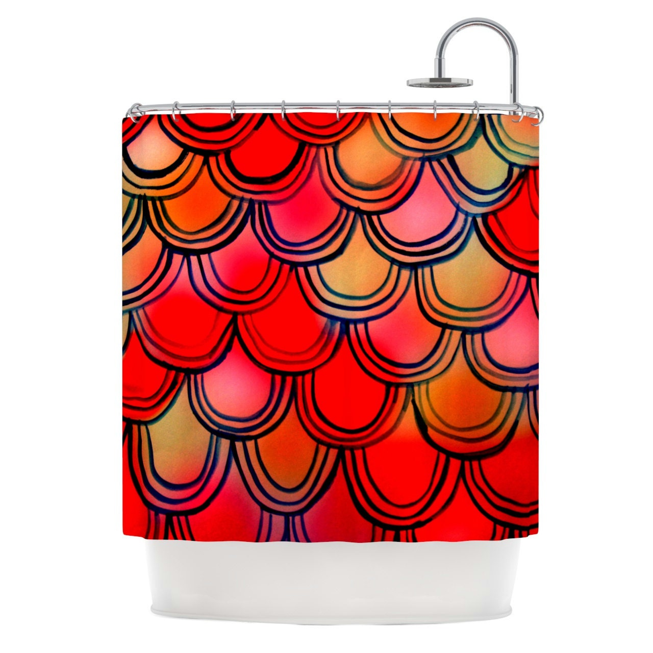 Shower Curtain Red And Yellow Fish Scale Dragon By Kessinhouse