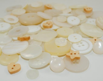 Mixed Button Bag - PEARLY WHITES - 50g (2oz) Bag of Pretty Pearly White Buttons