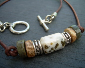Leather Necklace, Gemstone Necklace, Ocean Jasper, Picture Jasper, Mens Necklace, Womens Necklace,
