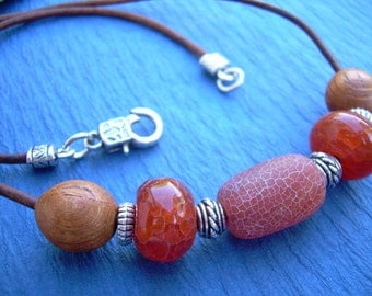 Womens Leather Necklace with Fire Agate Wood and Silver Beads, Womens Necklace, Womens Jewelry