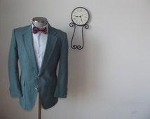 1960s Vintage Myrtle Green Blazer / 60s Ivy League Sport Coat / Suit Jacket / St Patrick's Day - Size 42 - Large L