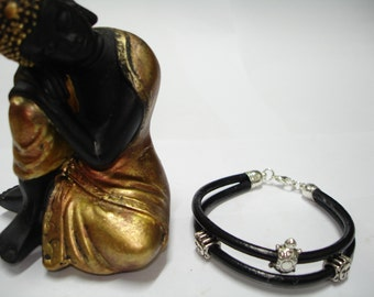 Leather Bracelet, with silver plated sun and turtle ornaments