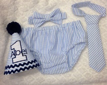 Boys Cake Smash Outfit - Blue Seersucker Stripe - Diaper Cover, Tie & Birthday Hat - Birthday Set - Boys Birthday Outfit  First 1st Birthday