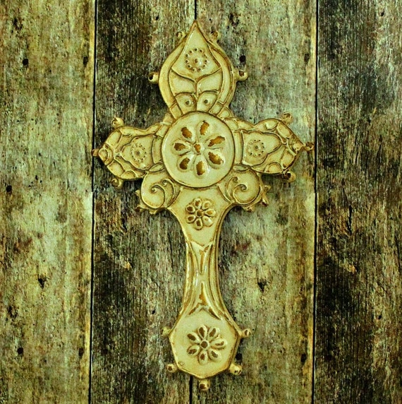 Gold Cross Wall Decor : Rustic distressed cream gold cross shabby chic wall decor