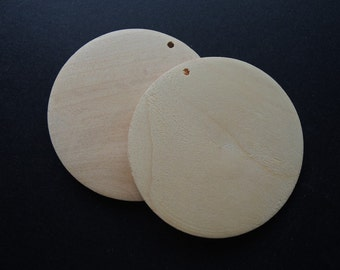"8 Pcs 60mm(2-2/5"") Natural Wood Circle Wooden Discs Unfinished Wooden round Disks No Varnish (W141)"