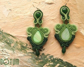 Green Green Elegant Spring Soutache Earrings with Nacre and Emerald Jade- Antidotum- Craftwork- Handmade- Soutache Jewellery
