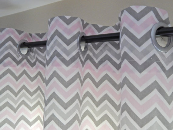 Curtain panels chevron pink and gray with grommets