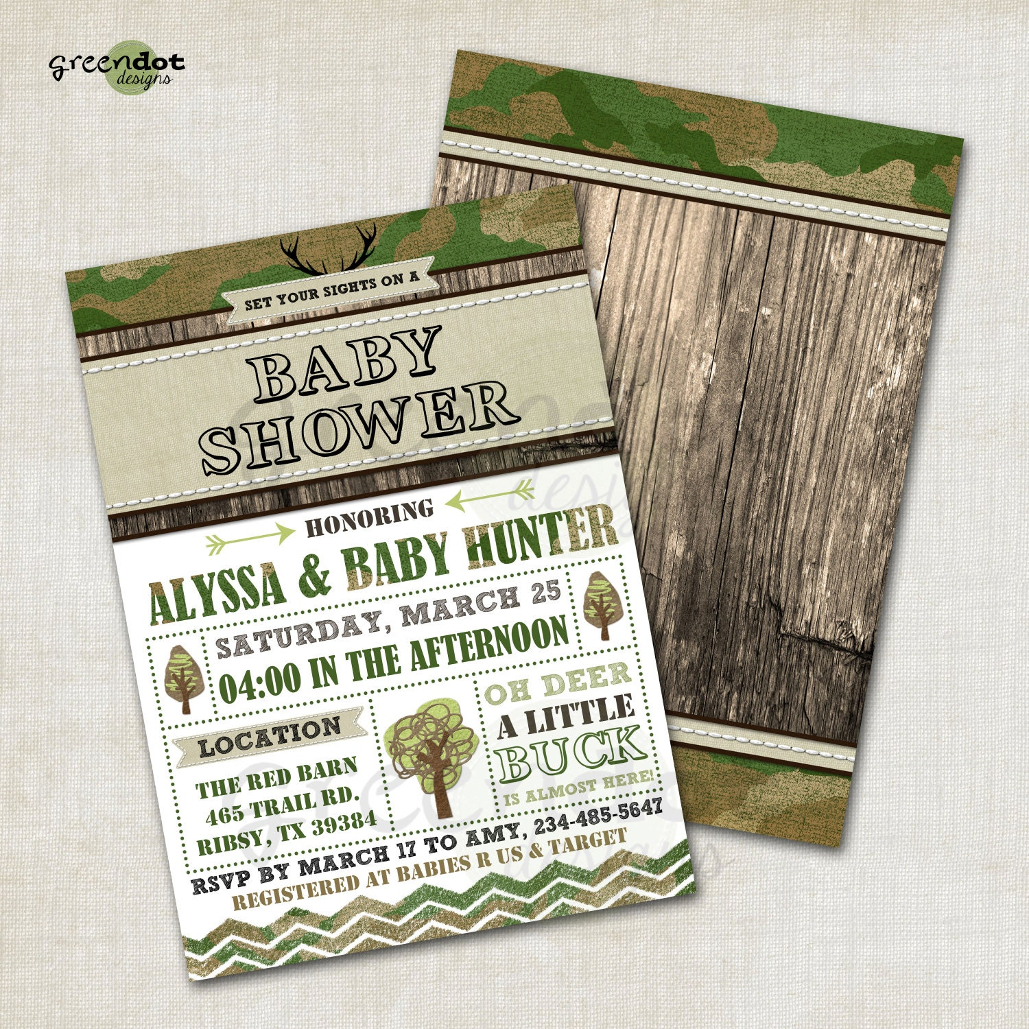 hunting baby shower invitation camo army hunter by greendotdesigns