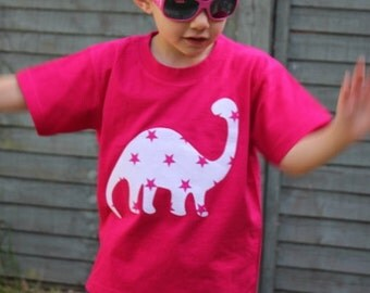 Girl's Dinosaur Diplodocus Pink T-shirt