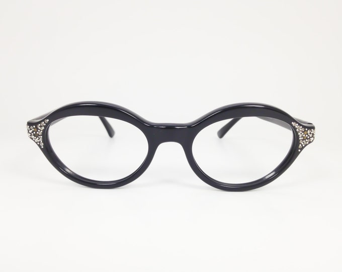 60s Vintage Eyeglasses | 1960s Spex Black Oval Horn-Rimmed Glasses with Crystals | NOS Eyeglass Frame | Deadstock Eyewear - Dame Decor