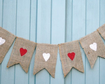 Valentines Heart 'W' Shape Burlap Bunting