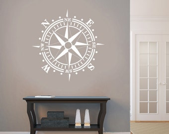 Compass Rose Removable Wall Art Vinyl Dinning Room Decal Nautical Theme Living Room up to 36x36 inches