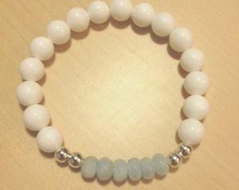 Aquamarine and White Shell Bracelet