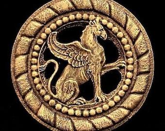 Rare Royal Griffin Gryphon Lion Eagle English Wall Plaque Decor Bronze Finish