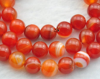 Red Banded Agate  smooth Round  beads 8mm,47 pcs