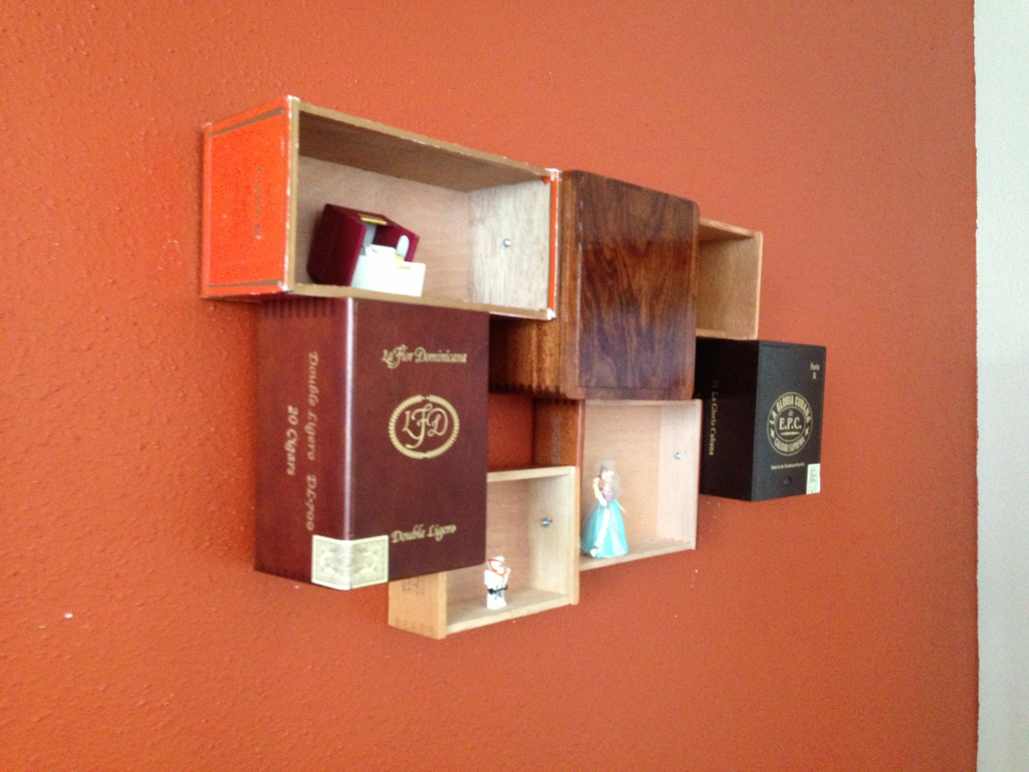 Repurposed Wood Cigar Box Shelf Reclaimed Wood Fixture Wall