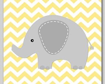 Grey and yellow elephant print, neutral gender wall art print , nursery Art Print  -8x10-  grey, gray, elephant, yellow, chevron -UNFRAMED