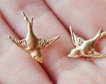 Brass Sparrow Bird Stud Earring