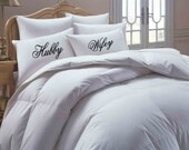 Hubby Wifey his hers pillowcase set,  Personalized, Custom, Pillowcase set, pillowcase, bride, groom, pillowcases, wedding gift