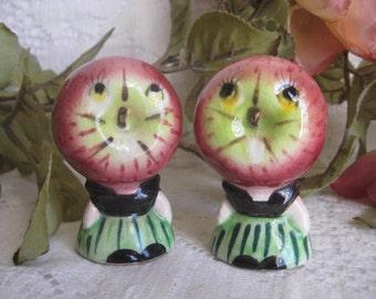 Vintage Ceramic Apple Ladies Salt and Pepper Shakers (Japan)
