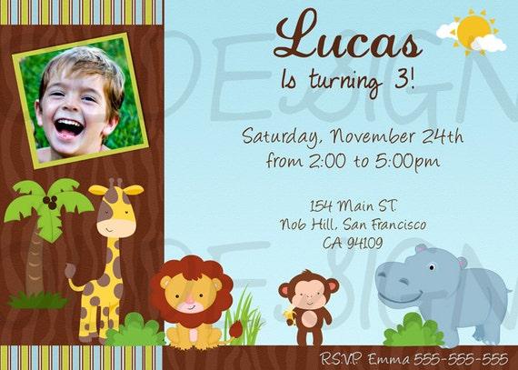 Invitaciones de cumpleaños de animales de la selva - Imagui