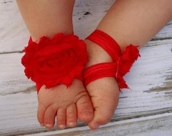 Red Baby Barefoot Sandals - Newborn Baby Barefoot Sandals - Newborn Clothing  - Baby Clothing Photography Prop Toddler Sandals