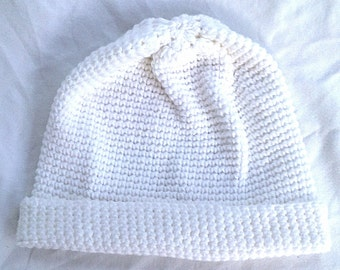 Warm Winter White Acrylic Yarn with Metallic Thread Fold-Over Crochet Hat