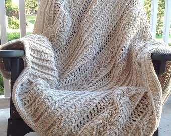 "Oatmeal Colored Acrylic Yarn Cable ""Knit"" Crochet Blanket"