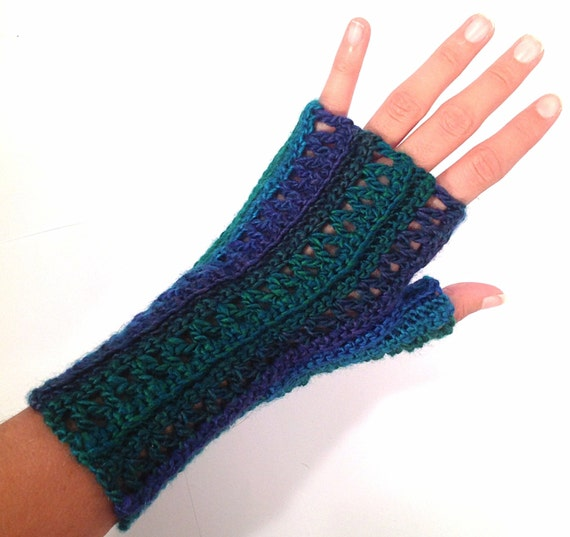 Blue and Green Variegated Yarn Multicolor Crochet Fingerless
