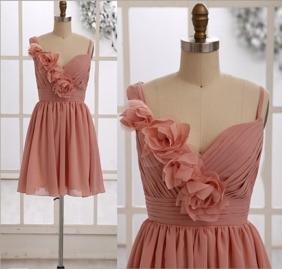 Dusty rose pink bridesmaid dress prom dress one by misdress for Rose pink wedding dress