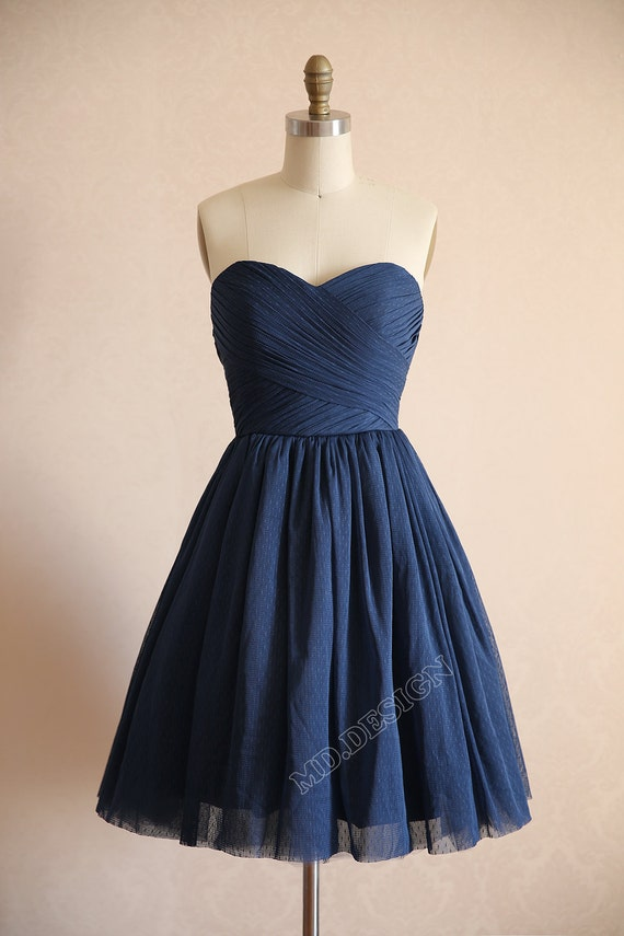 Vintage Navy Blue Polka Dots Tulle Wedding Dress By Misdress
