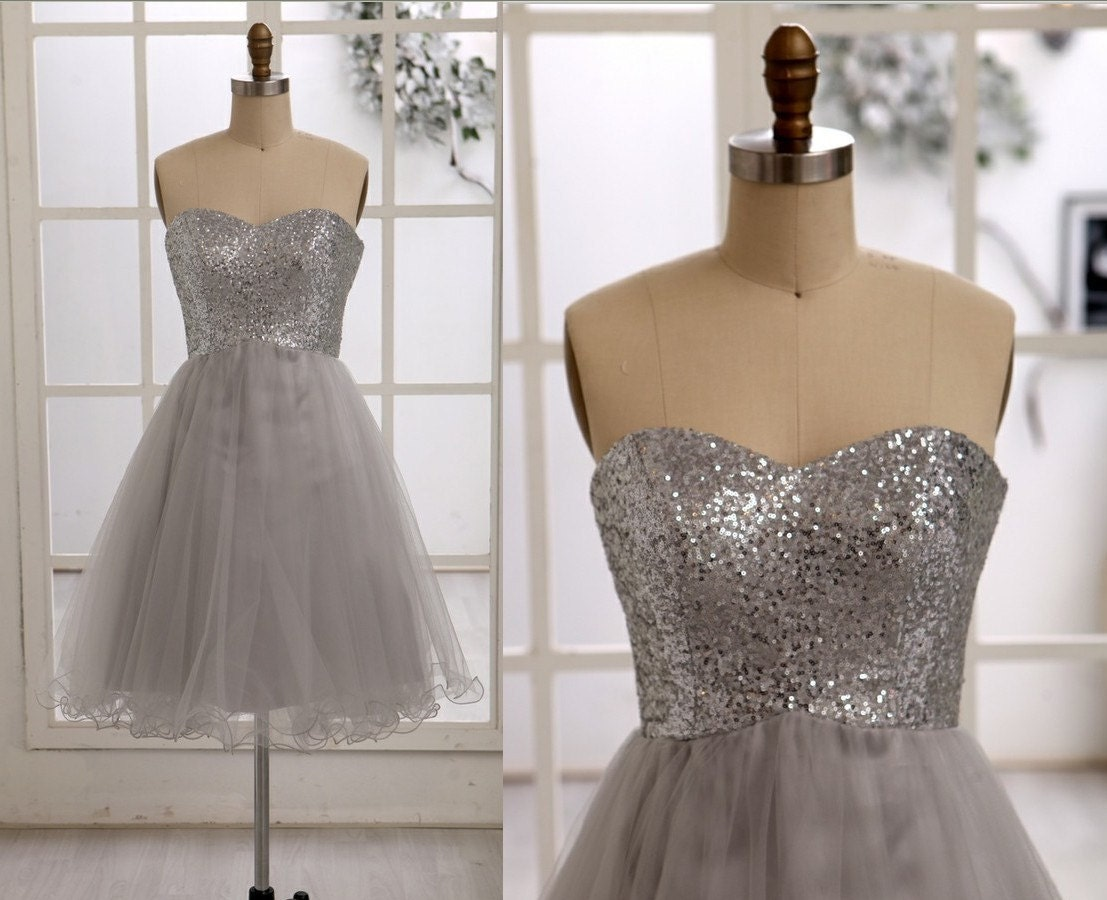 Silver Sequins Gray Tulle Bridesmaid Dress Prom by misdress