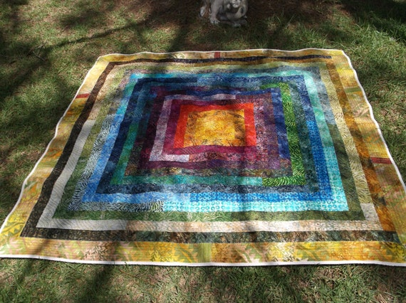 Jelly Roll Log Cabin Strip Quilt In Beautiful Bright Batiks