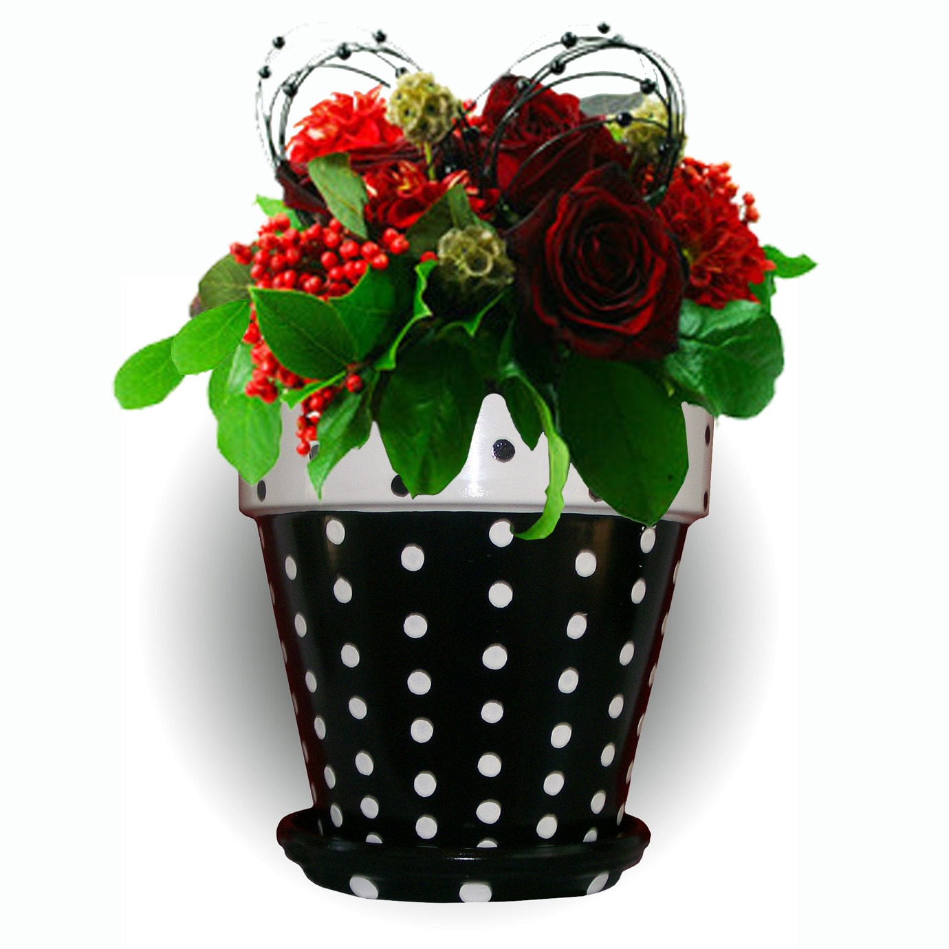 Black and white flower pots -  Zoom