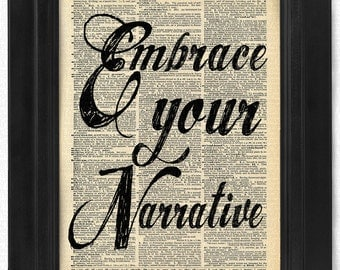 Embrace Your Narrative quote on 100 yr old Antique Dictionary Page, Wall Decor, Wall Decor, Book Art