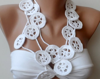 White scarf, Crocheted necklace scarf, Crochet scarf, Lariat, Rudder scarf, White crochet scarf, Scarflette, crochet jewelry, Summer