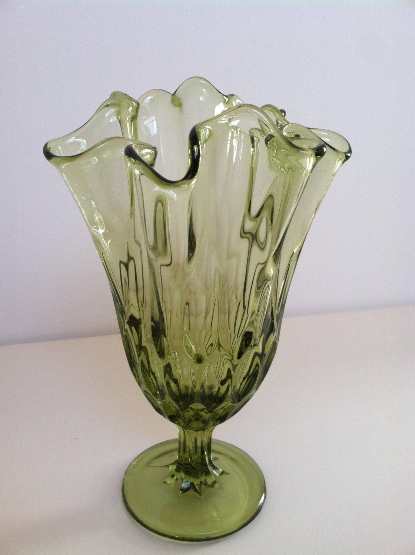 Vintage Green Ruffled Edge Art Glass Vase Ruffled Glass Vase