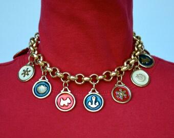 Gold Tone and Enamel Beach Motif Necklace Vintage